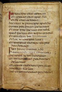 Erste Seite des Johannesevangeliums