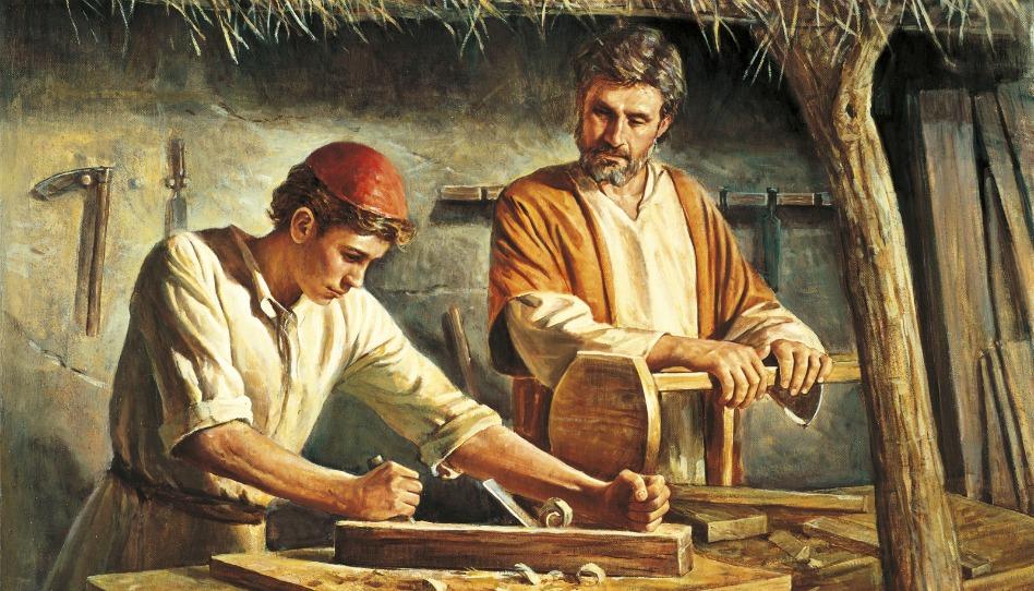 Ereignis aus dem Leben Jesu - Jesus arbeitet mit seinem Vater Josef dem Zimmermann