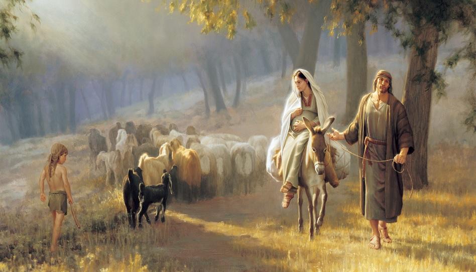 Joseph und Maria auf dem Esel
