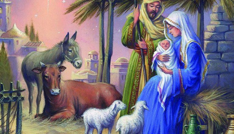 Weihnachten Szene Tiere Esel, Ochse, Schaf
